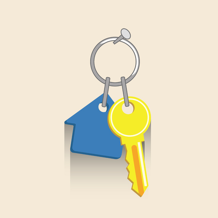 key and house keychain Flat vector illustration. Concept picture for business Illustration