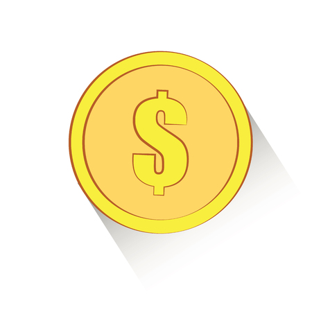 gold coin with dollar sign Flat vector illustration. Concept picture for business