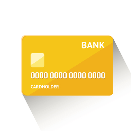 Vector illustration of detailed golden credit card isolated on white background
