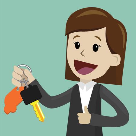手に鍵を持つ女性のフラットスタイルでベクター漫画のイラスト