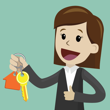 Businesswoman hand buying a house. Realtors hand giving keys to client. Real Estate Concept
