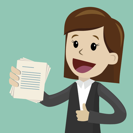 Businesswoman holding pieces of paper. Vector illustration on color background. Illustration