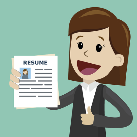 Businesswoman or manager in the suit holding resume for job hiring. Vector illustration.