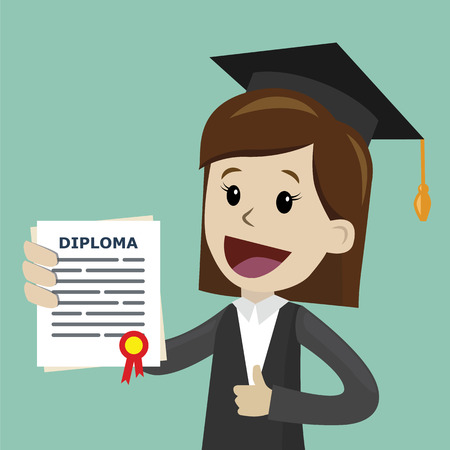 A woman in a suit hold a degree certificate of college or business school or diploma of university. Vector illustration.