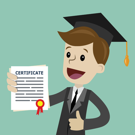 Vector cartoon illustration of a graduate with certificate or diploma in a flat style