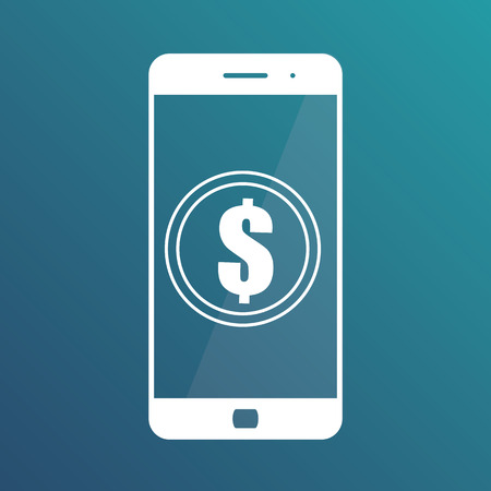 Smartphone banking dollar icon. Mobile payment with smartphone. Isolated icon on gradient blue background Illustration