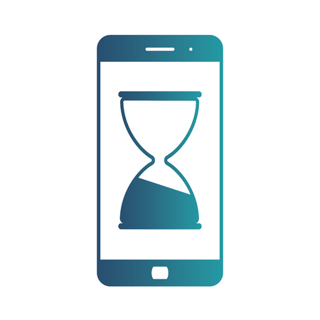 Mobile phone hourglass line icon, web and mobile. Busy sign vector icon. Isolated gradient blue icon on white background Çizim