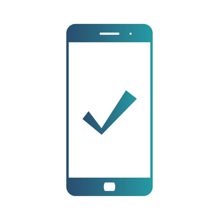 Mobile phone icon with check, approve, done or confirm sign. Vector icon. Isolated gradient blue icon on white background Illustration