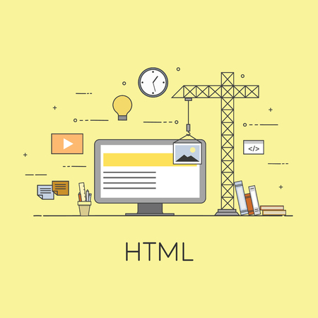 Flat vector illustration. Concept illustration of business with html text, computer monitor and related icons.