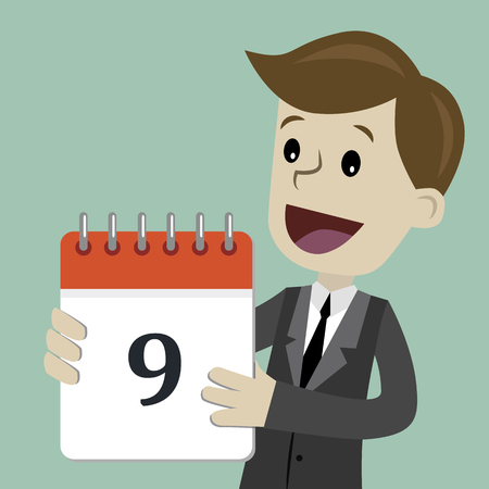 Business and finance. Flat style vector illustration clipart with man holding calendar with number 9.