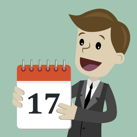 Business and finance. Flat style vector illustration clipart with man holding calendar with number 17. 일러스트