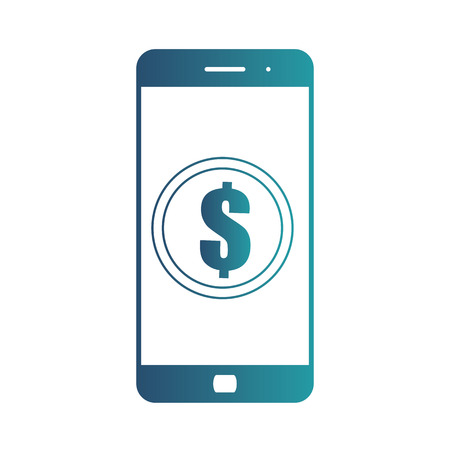 Smartphone banking dollar icon. Mobile payment with smartphone. Isolated gradient blue icon on white background Stock Photo