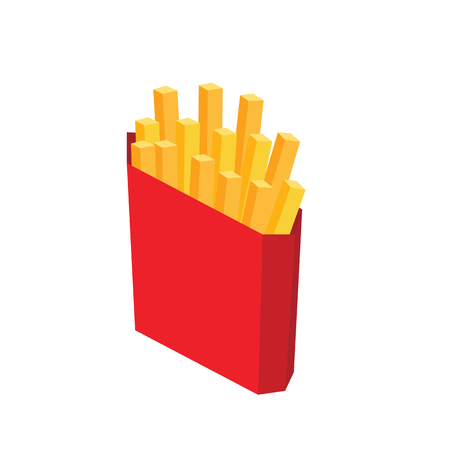 Isometric isolated french fries. Fast food. Illustration for design fast food menu