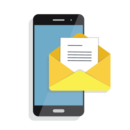 Opening of an incoming email to a smartphone. E-mailing, spam, e-commerce Stock Photo