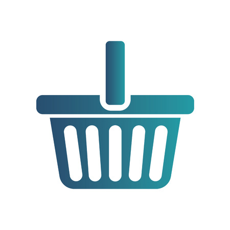 E-commerce flat design concept. Cart icon. Using web for online purchasing. Isolated gradient blue icon on white background