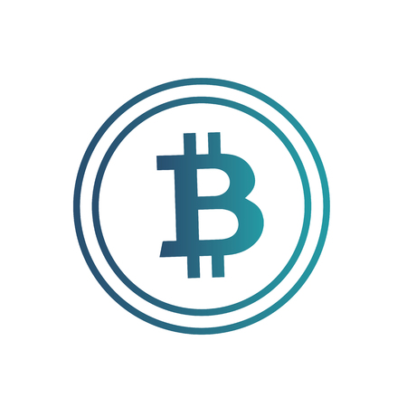 Gradient blue bitcoin icon isolated on white background. Crypto-currency market. Vector illustration. Stock Photo