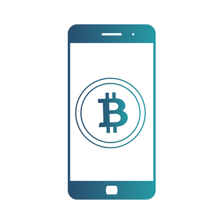 Smartphone banking dollar icon. Mobile payment with smartphone. Crypto-currency market. Isolated gradient blue icon on white background
