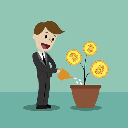 Businessman looking for growth Bitcoins. Cartoon Vector Illustration. Ilustração