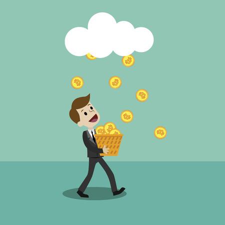 Businessman put money in a basket. Business has a profit. Stock Vector - 110466387