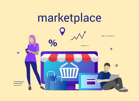 Flat design banner of E-Commerce and E-Shopping for website and mobile website. Marketplace. Easy to use and highly customizable Иллюстрация