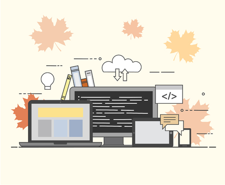 Cloud, internet. Common storage for all devices. Programming Illustration