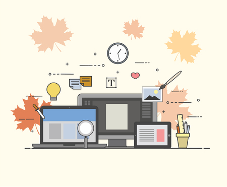 Web and mobile design and developing. Autumn, fall, maple leaf. Иллюстрация