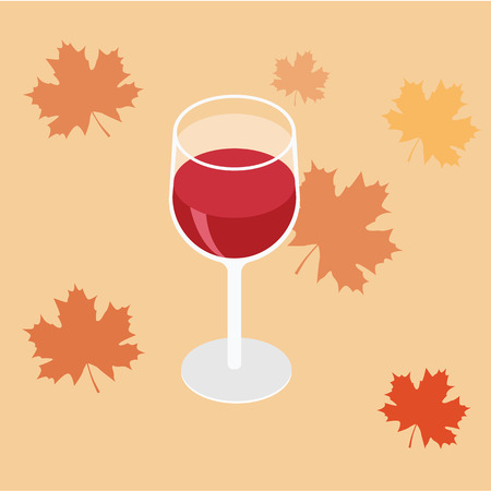 Isometric red wine in a glass isolated on white background  イラスト・ベクター素材