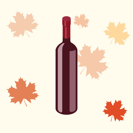 Isometric red wine bottle isolated on white