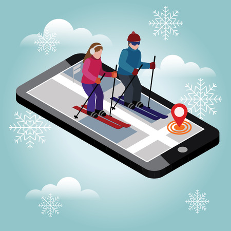 Isometric man and woman skiing. Happy couple loves skiing. Happy couple loves skiing. Searching for cross country skiing in city. Winter sport. Mobile navigation. Olimpic games, recreation, extreme