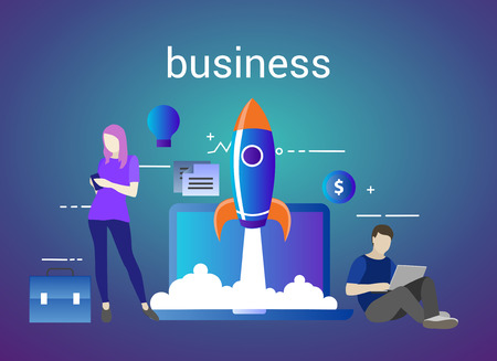 Successful startup business concept. Vector illustration with rocket launch and laptop on the background. Easy to use and highly customizable Иллюстрация