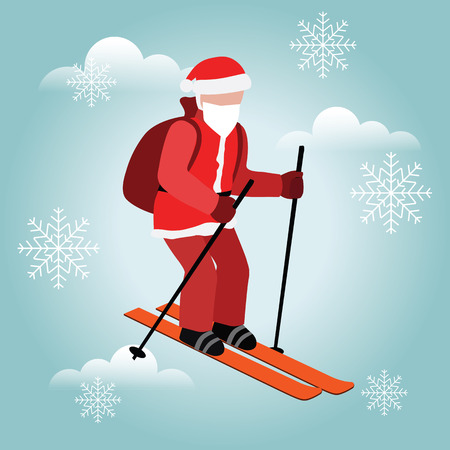 Isometric isolated Santa Claus skiing. Christmas and New Year is coming. Santa pull gifts. Cross country skiing, winter sport Banco de Imagens