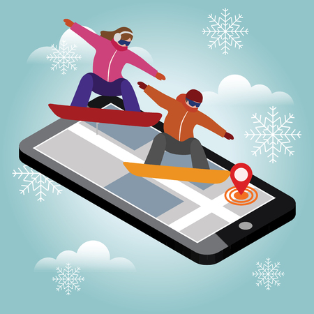 Isometric vector man and woman hav boarding in city. Urban style and hot tricks in park. Videos and photos keeped in phone memory. Snowboarding, winter sport. Olimpic games, activity speed extreme