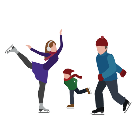 Flat 3d vector isometric illustration. Concept picture. Family skating Çizim