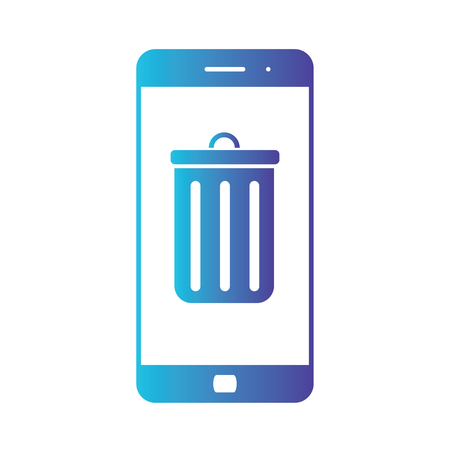 Illustration and icon of smartphone and mobile trash. Deleting information from phone. Isolated gradient blue icon on white background