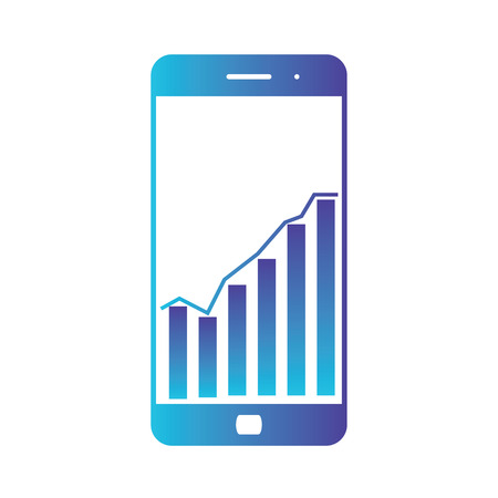 Smart phone with statistics Graph Chart. Screen with statistics, trading information, analytics. Isolated gradient blue icon on white background
