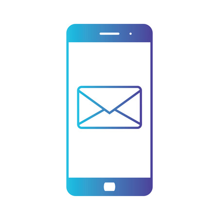 Notification of an incoming email to a smartphone. E-mailing, spam, e-commerce. Isolated gradient blue icon on white background