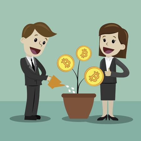 成長ビットコインを探しているビジネスマンやビジネスウーマン。漫画ベクトルイラスト。