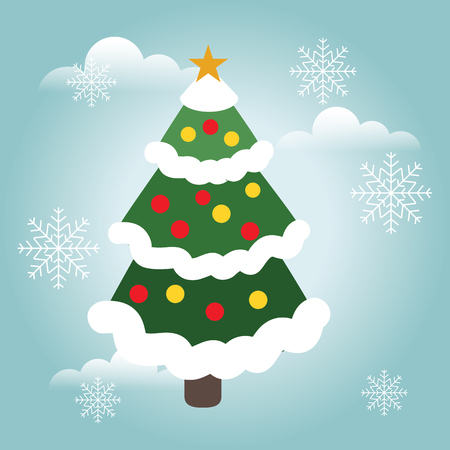 Vector cristmas tree. Happy Christmas and New Year