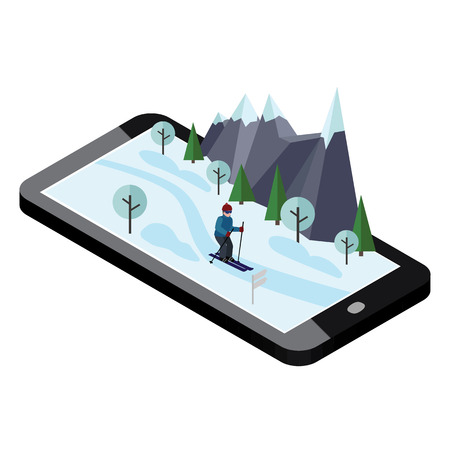 Isometric man skiing. Mobile navigation. Videos and photos keeped in phone memory. Cross country skiing, winter sport. games, recreation lifestyle, activity speed extreme Ilustrace