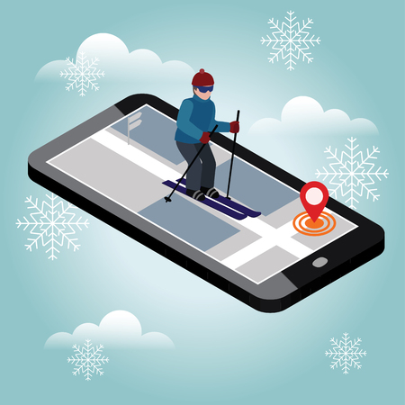 Isometric man skiing. Searching for cross country skiing in city. Winter sport. Mobile navigation.  games, recreation lifestyle, activity speed extreme