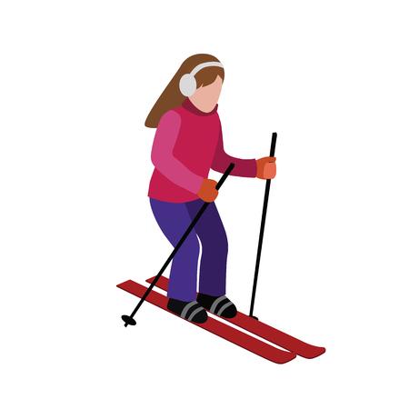 Esquí de mujer isométrica. juegos, estilo de vida recreativo, velocidad de actividad extrema