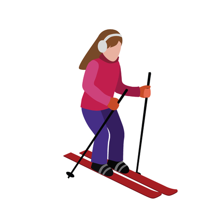 Isometric woman skiing. games, recreation lifestyle, activity speed extreme