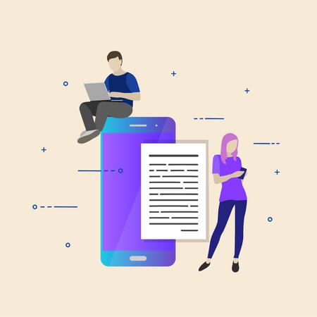 Flat vector illustration. Concept illustration of chating Illustration