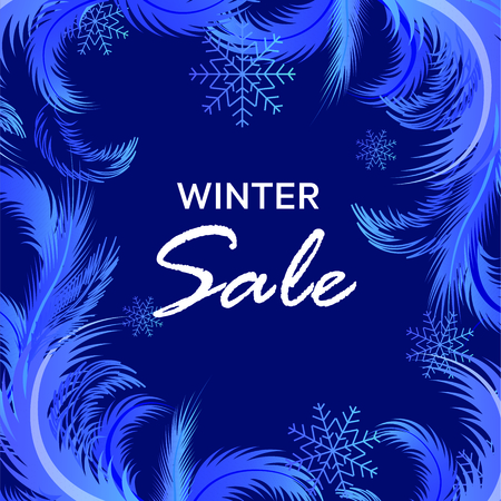 Winter sale vector banner with frosty pattern, sale text and snow flakes for retail seasonal promotion. Vector illustration.