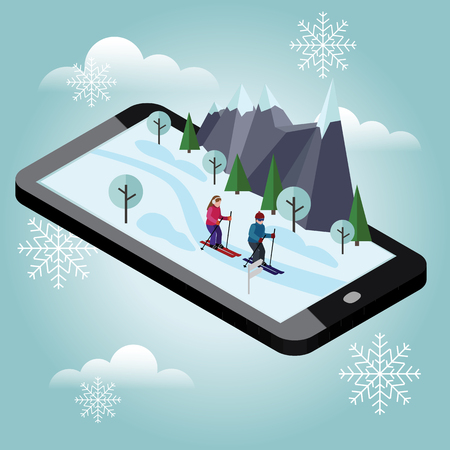 Isometric man and woman skiing. Cross country skiing, winter sport. games, recreation lifestyle, activity speed extreme Reklamní fotografie