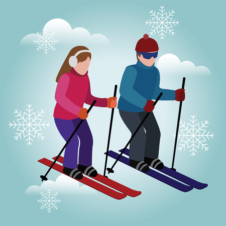 Isometric man and woman skiing. games, recreation lifestyle, activity speed extreme