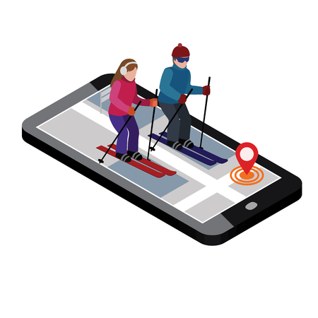 Isometric man and woman skiing. Cross country skiing, winter sport. games, recreation lifestyle, activity speed extreme Standard-Bild - 118851260