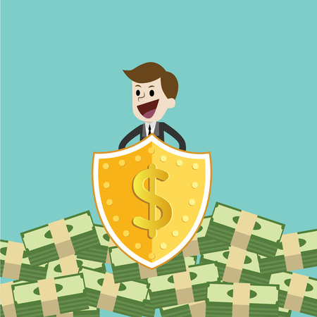 Businessman protecting money with shield and sword. protect money from tax and debt with sword and shield.