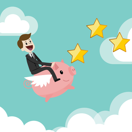 Finance and relationships concept. Businessman with a pig bank.