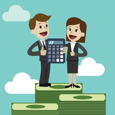 Profitto, concetto di finanze. Vettore, illustrazione piatta